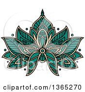 Clipart Of A Turquoise And Beige Henna Lotus Flower Royalty Free Vector Illustration