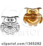 Clipart Of Black And White And Brown Owls Royalty Free Vector Illustration