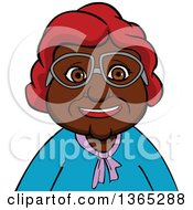 Clipart Of A Cartoon Bespectacled Black Senior Woman Royalty Free Vector Illustration