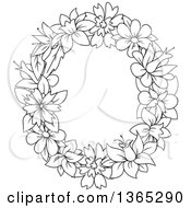 Clipart Of A Black And White Lineart Floral Lowercase Alphabet Letter O Royalty Free Vector Illustration