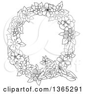 Clipart Of A Black And White Lineart Floral Uppercase Alphabet Letter Q Royalty Free Vector Illustration