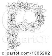 Clipart Of A Black And White Lineart Floral Uppercase Alphabet Letter P Royalty Free Vector Illustration