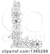 Clipart Of A Black And White Lineart Floral Uppercase Alphabet Letter L Royalty Free Vector Illustration