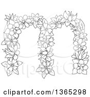 Clipart Of A Black And White Lineart Floral Lowercase Alphabet Letter M Royalty Free Vector Illustration