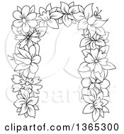 Clipart Of A Black And White Lineart Floral Lowercase Alphabet Letter N Royalty Free Vector Illustration