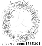 Clipart Of A Black And White Lineart Floral Uppercase Alphabet Letter O Royalty Free Vector Illustration