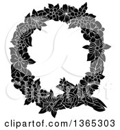 Clipart Of A Black And White Floral Uppercase Alphabet Letter Q Royalty Free Vector Illustration