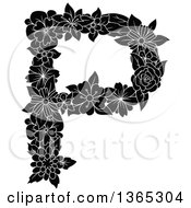 Clipart Of A Black And White Floral Uppercase Alphabet Letter P Royalty Free Vector Illustration