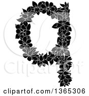 Clipart Of A Black And White Floral Lowercase Alphabet Letter Q Royalty Free Vector Illustration