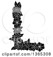 Clipart Of A Black And White Floral Uppercase Alphabet Letter L Royalty Free Vector Illustration