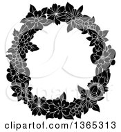 Clipart Of A Black And White Floral Uppercase Alphabet Letter O Royalty Free Vector Illustration