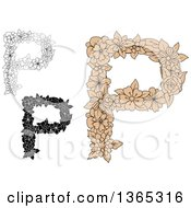 Clipart Of Floral Uppercase Alphabet Letter P Designs Royalty Free Vector Illustration