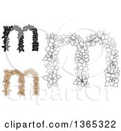 Clipart Of Floral Lowercase Alphabet Letter M Designs Royalty Free Vector Illustration
