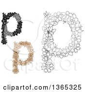Clipart Of Floral Lowercase Alphabet Letter P Designs Royalty Free Vector Illustration
