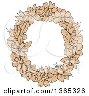 Clipart Of A Tan Floral Lowercase Alphabet Letter O Royalty Free Vector Illustration