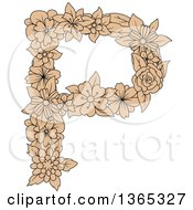 Clipart Of A Tan Floral Uppercase Alphabet Letter P Royalty Free Vector Illustration