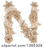 Clipart Of A Tan Floral Uppercase Alphabet Letter N Royalty Free Vector Illustration