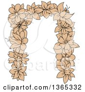 Clipart Of A Tan Floral Lowercase Alphabet Letter N Royalty Free Vector Illustration