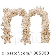 Clipart Of A Tan Floral Lowercase Alphabet Letter M Royalty Free Vector Illustration