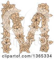 Clipart Of A Tan Floral Uppercase Alphabet Letter M Royalty Free Vector Illustration