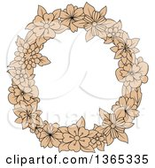 Clipart Of A Tan Floral Uppercase Alphabet Letter O Royalty Free Vector Illustration