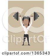 Clipart Of A Flat Design Black Businesswoman Holding Up A Barbell On Tan Royalty Free Vector Illustration by Vector Tradition SM