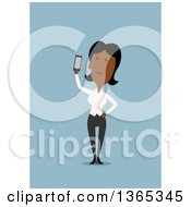 Clipart Of A Flat Design Black Businesswoman Holding Up A Smart Phone On Blue Royalty Free Vector Illustration