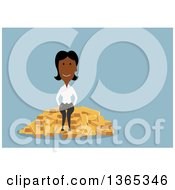 Clipart Of A Flat Design Black Businesswoman Sitting On Gold Bars On Blue Royalty Free Vector Illustration by Seamartini Graphics