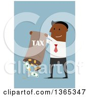 Clipart Of A Flat Design Black Businessman Dumping Out A Bag For Taxes On Blue Royalty Free Vector Illustration