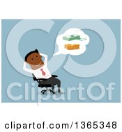 Clipart Of A Flat Design Black Businessman Thinking About Money On Blue Royalty Free Vector Illustration by Vector Tradition SM