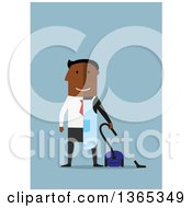 Clipart Of A Flat Design Black Man Dressed Half In A Suit Half As A Janitor On Blue Royalty Free Vector Illustration