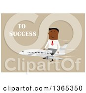 Clipart Of A Flat Design Black Businessman Riding On Top Of A Plane To Success On Tan Royalty Free Vector Illustration