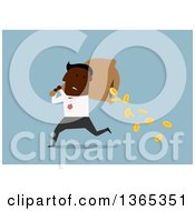 Clipart Of A Flat Design Black Businessman Dropping Coins From A Sack On Blue Royalty Free Vector Illustration