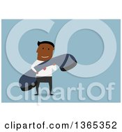 Clipart Of A Flat Design Black Businessman Holding A Giant Telephone Receiver On Blue Royalty Free Vector Illustration
