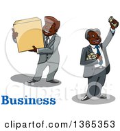 Clipart Of Cartoon Black Business Men Holding A Box And Cash Money Royalty Free Vector Illustration