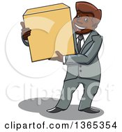 Clipart Of A Cartoon Black Business Man Holding A Box Royalty Free Vector Illustration