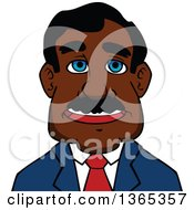 Clipart Of A Cartoon Avatar Of A Happy Black Businessman Royalty Free Vector Illustration