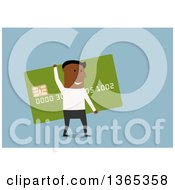 Clipart Of A Flat Design Black Man Carrying A Giant Credit Card On Blue Royalty Free Vector Illustration