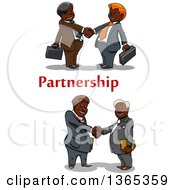 Clipart Of Cartoon Black Business Men Shaking Hands With Partnership Text Royalty Free Vector Illustration