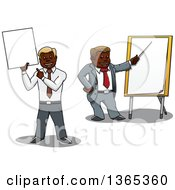 Cartoon Black Business Men Holding And Pointing To A Blank Sign And Pointing To A Board