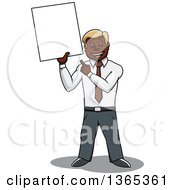 Clipart Of A Cartoon Black Business Man Holding And Pointing To A Blank Sign Royalty Free Vector Illustration