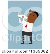 Clipart Of A Flat Design Black Businessman Drinking Milk From A Bottle On Blue Royalty Free Vector Illustration