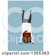 Clipart Of A Flat Design Black Businessman Doing A Hand Stand On Blue Royalty Free Vector Illustration