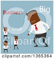 Clipart Of A Flat Design Big Black Businessman And Small Men On Blue Royalty Free Vector Illustration
