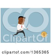 Clipart Of A Flat Design Black Businessman Chasing A Coin With Cutlery On Blue Royalty Free Vector Illustration by Vector Tradition SM