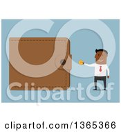 Clipart Of A Flat Design Black Businessman Putting A Coin In A Giant Wallet On Blue Royalty Free Vector Illustration