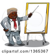 Clipart Of A Cartoon Black Business Man Pointing To A Board Royalty Free Vector Illustration