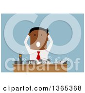 Clipart Of A Flat Design Black Businessman Stressing Out At A Desk Of Ringing Phones On Blue Royalty Free Vector Illustration