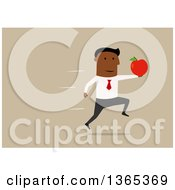 Clipart Of A Flat Design Black Businessman Running With An Apple On Tan Royalty Free Vector Illustration by Vector Tradition SM