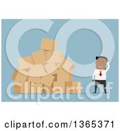 Clipart Of A Flat Design Black Businessman With A Messy Stack Of Boxes On Blue Royalty Free Vector Illustration